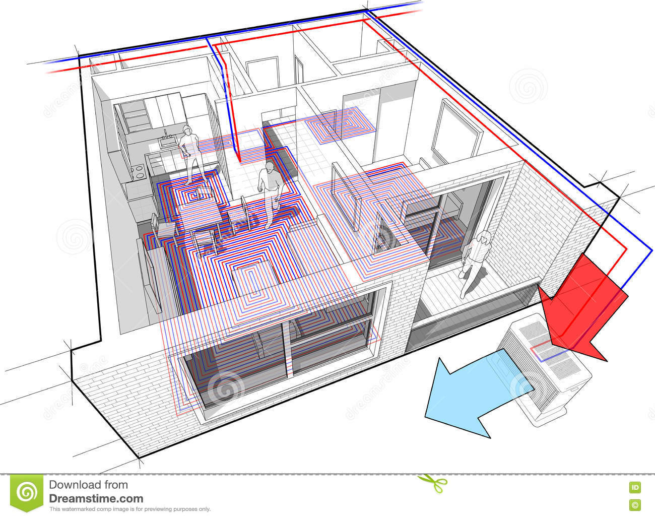 hight resolution of apartment diagram with underfloor heating and heat pump