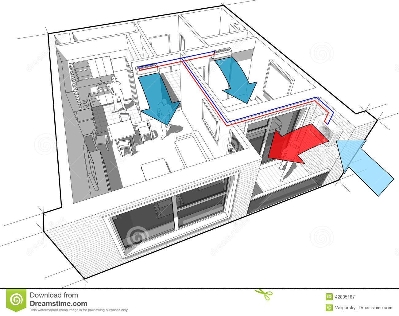 Apartment With Indoor Wall Air Conditioning Diagram Stock Photo  Image 42835187