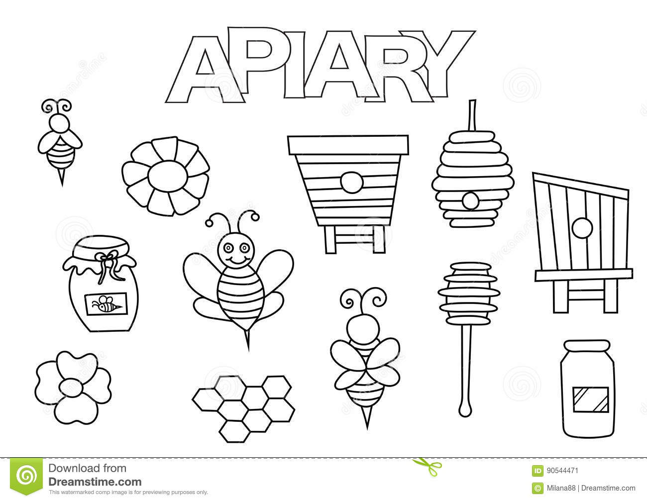 Apiary Bees And Honey Elements Hand Drawn Set Coloring