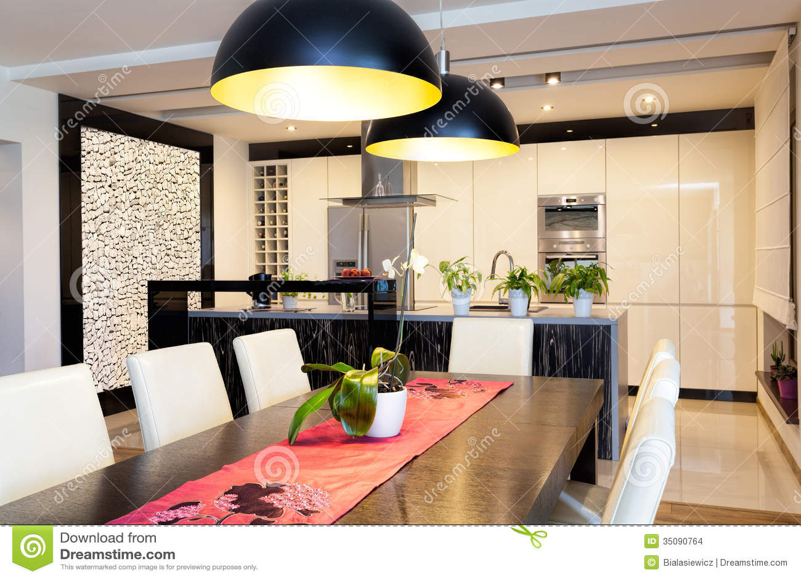 Appartamento Urbano  Cucina Con La Parete Di Pietra Fotografia Stock  Immagine 35090764