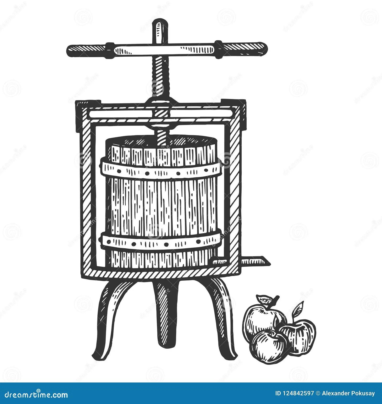 Apple Cider Juice Press Engraving Vector Stock Vector