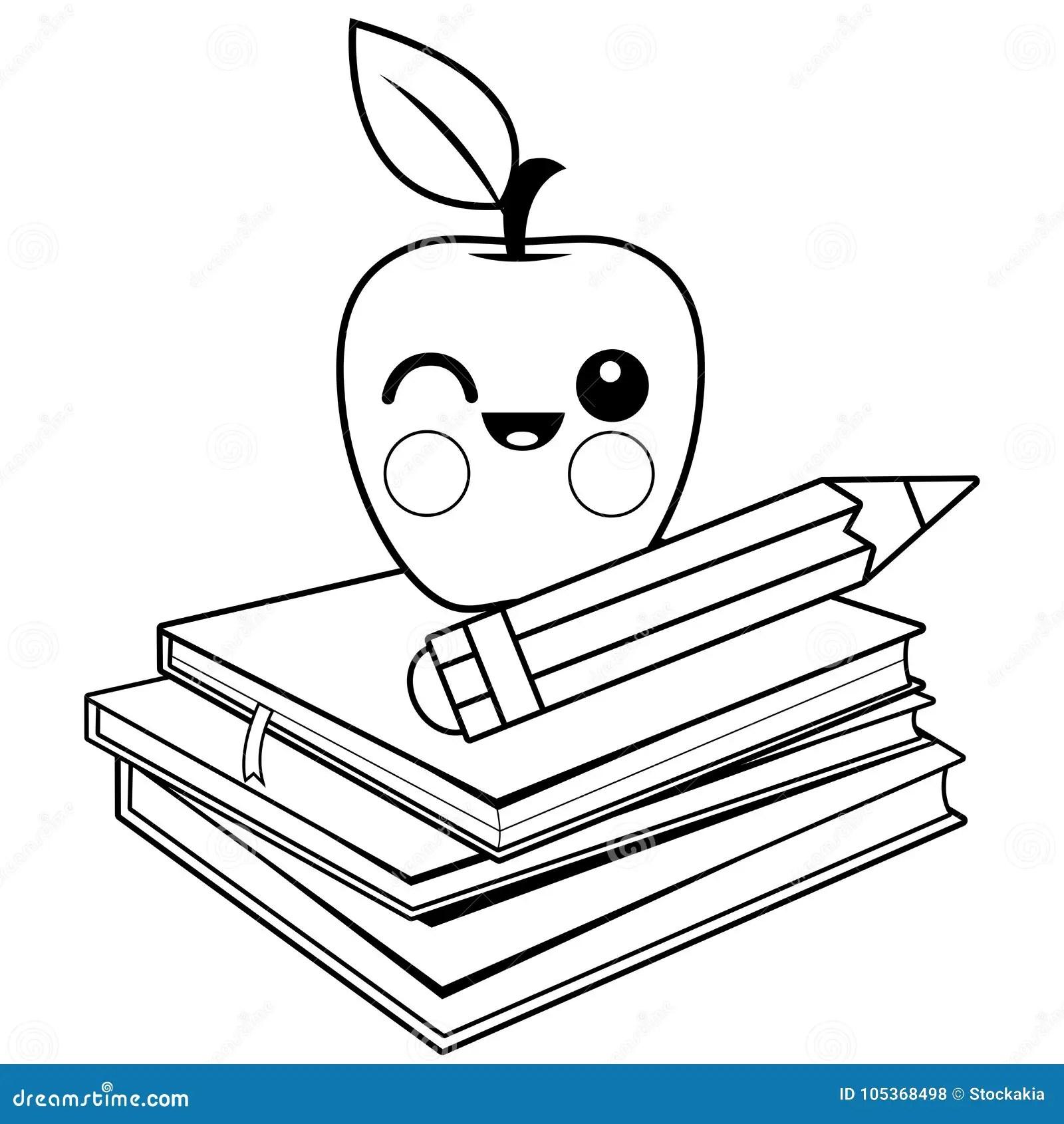 Apple, Libros Y Lápiz Página Blanco Y Negro Del Libro De