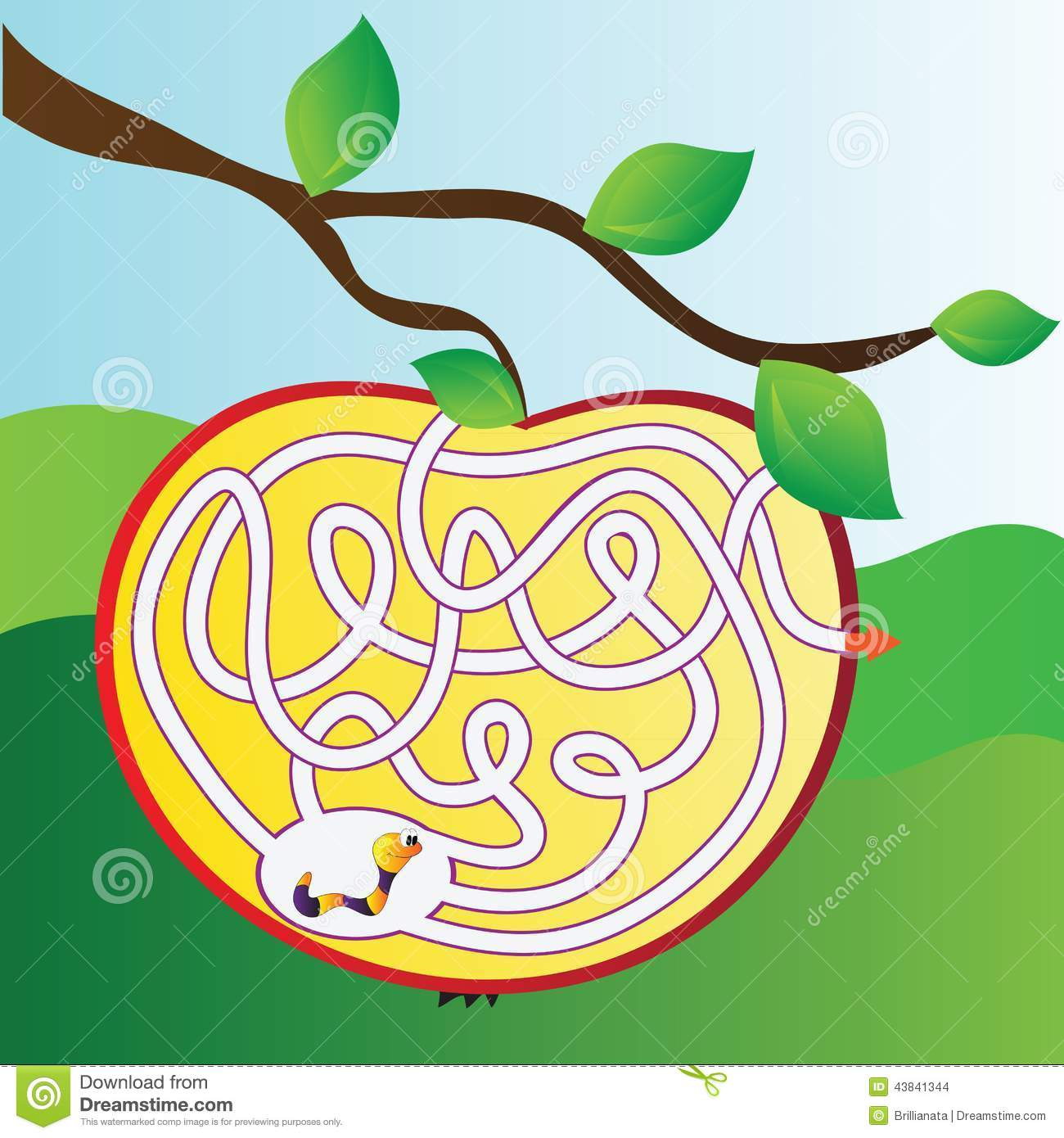 Apple Maze With Worm Stock Vector Illustration Of