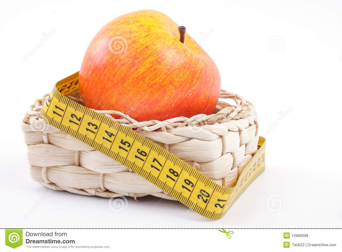 Apple With A Measuring Tape Stock Photo