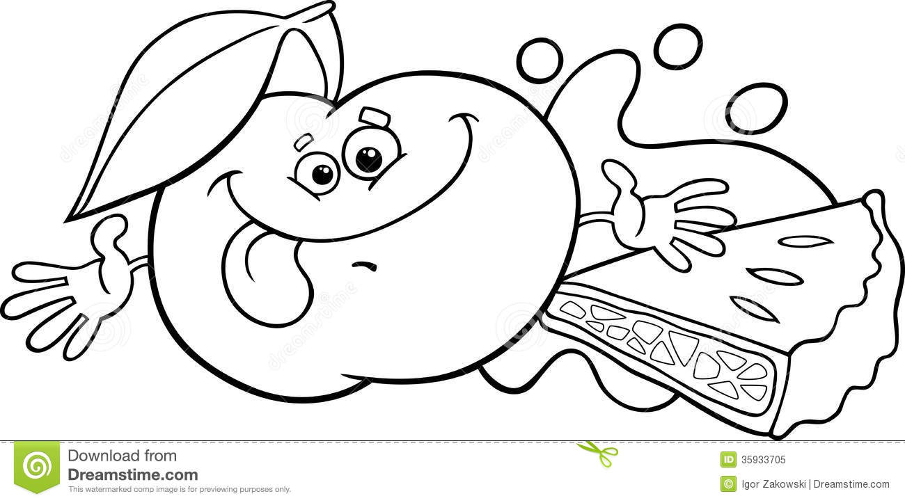 Apple And Pie Cartoon Coloring Page Royalty Free Stock
