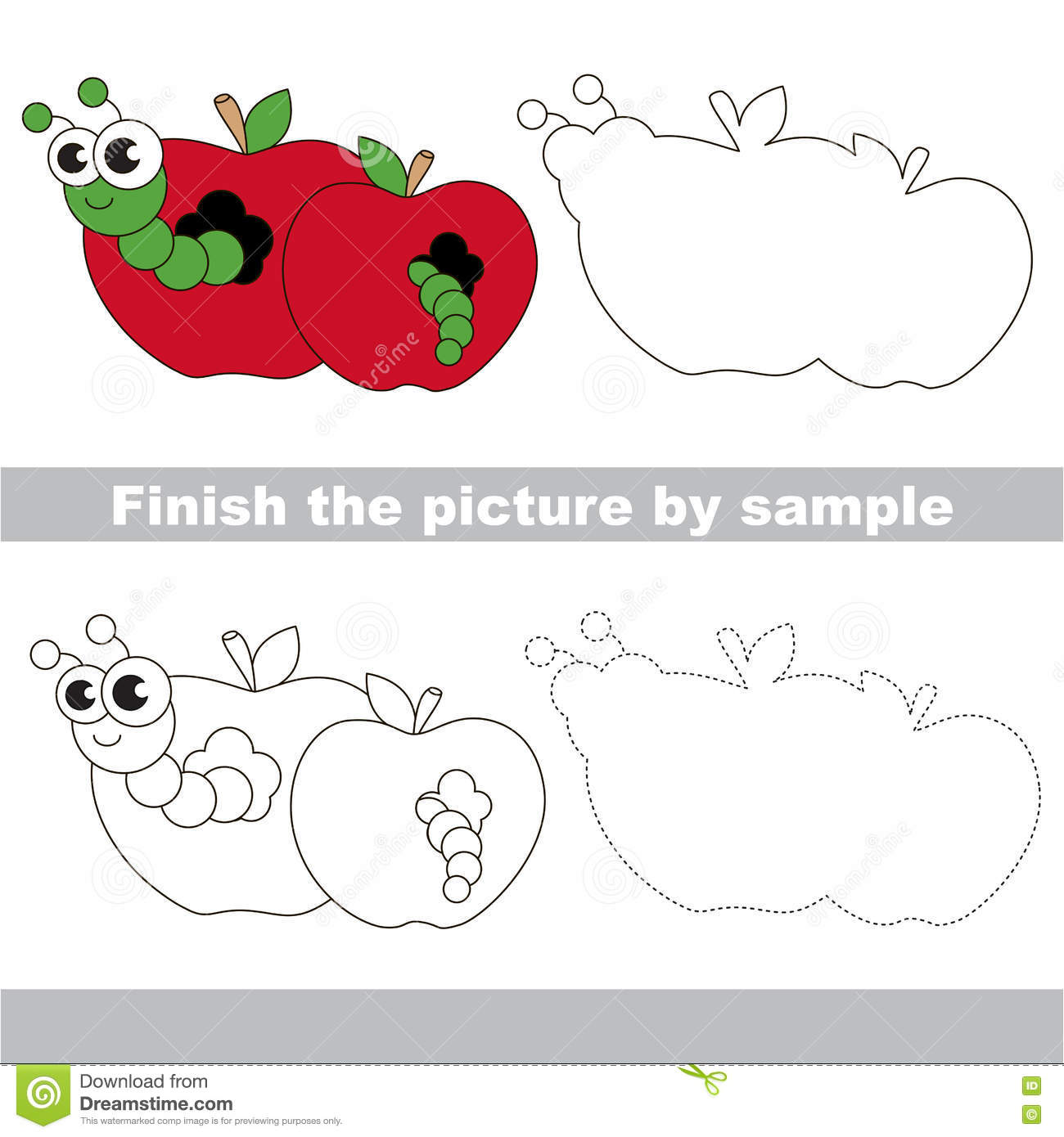 Apple Worm Drawing Worksheet Stock Vector