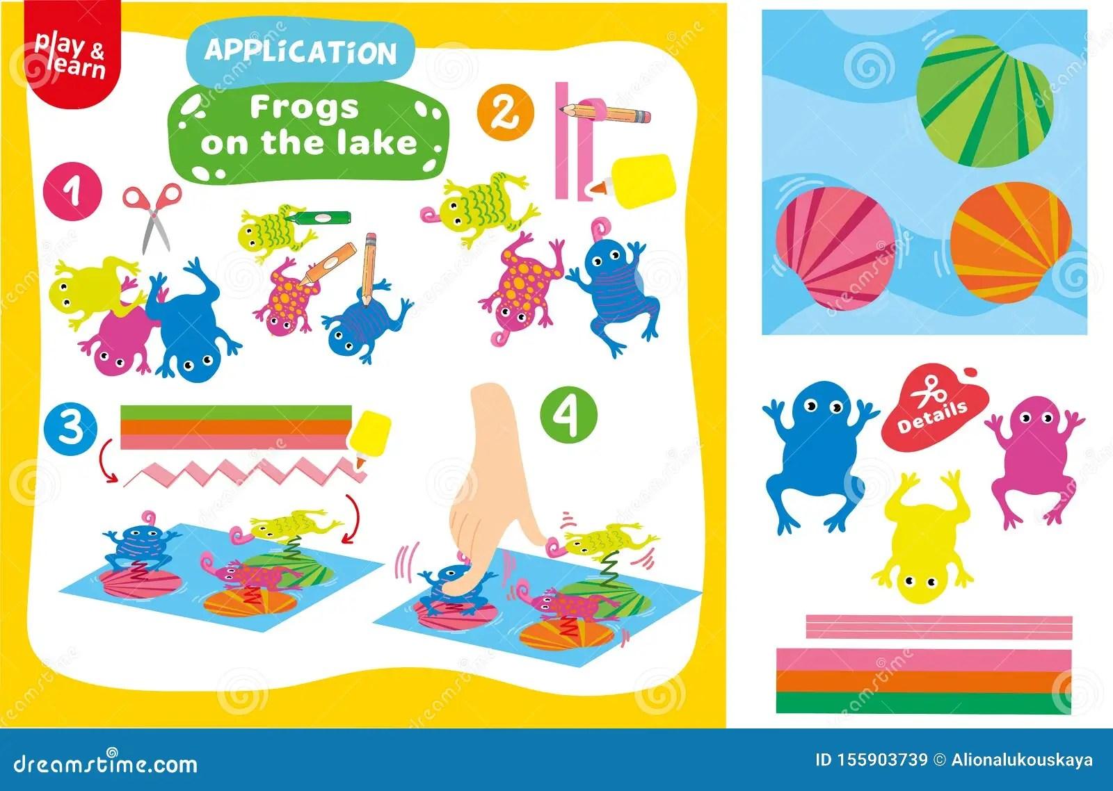 Application Frogs On Lake Game Printable Worksheet Stock