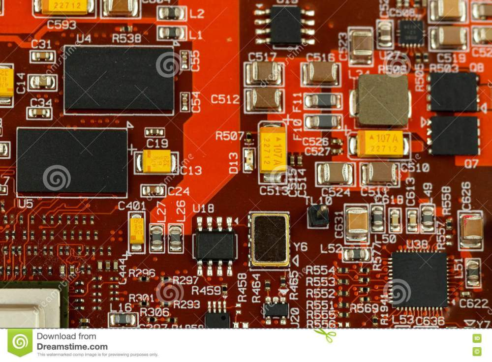 medium resolution of application specific integrated circuit ics chip capacitors tantalum capacitors and chip resistors mounted on a printed wiring board