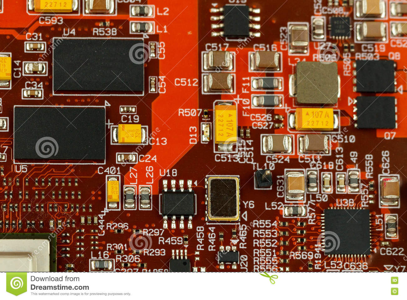 hight resolution of application specific integrated circuit ics chip capacitors tantalum capacitors and chip resistors mounted on a printed wiring board