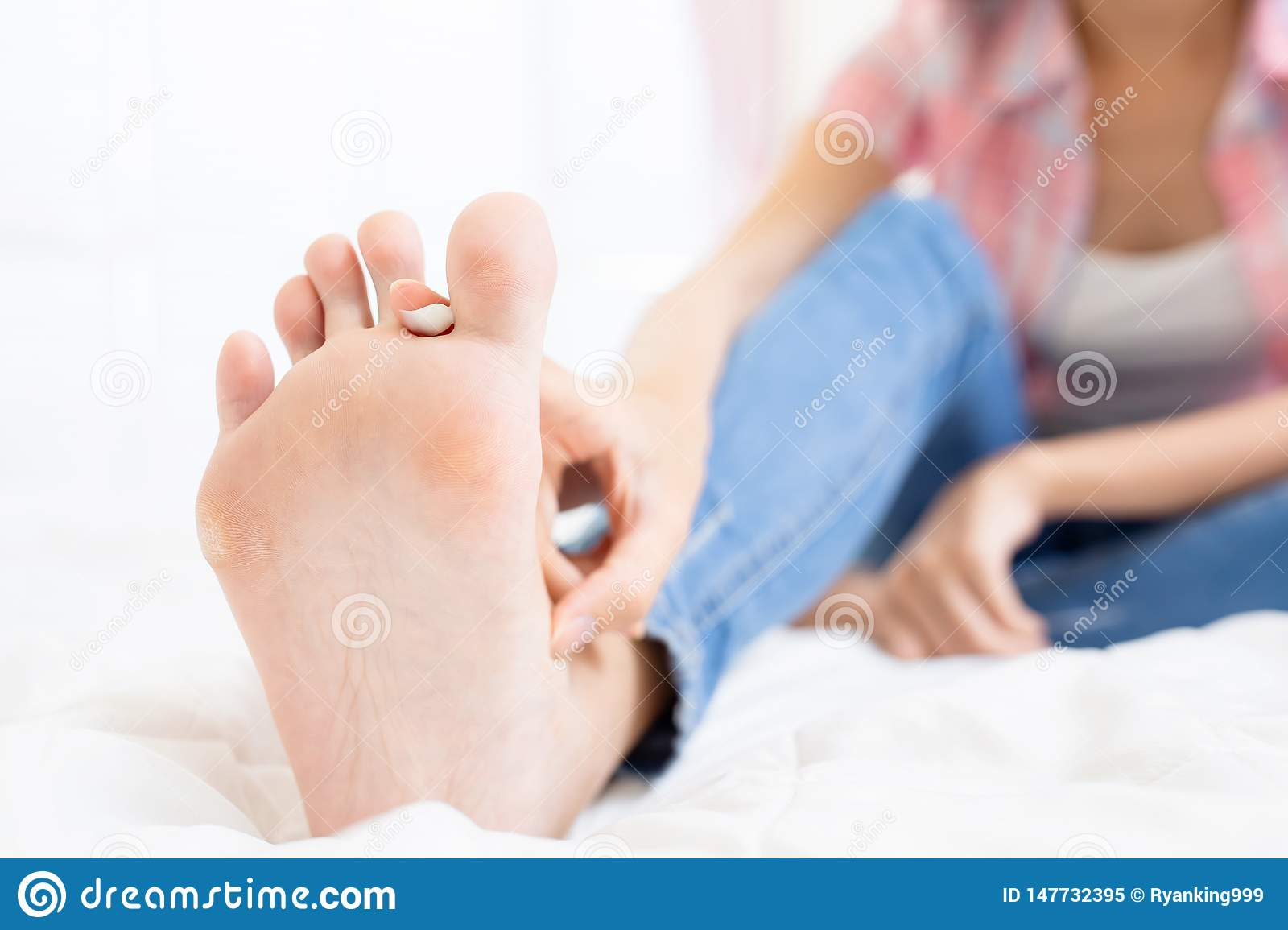 Applying Cream For Athletes Foot Stock Image - Image of ...