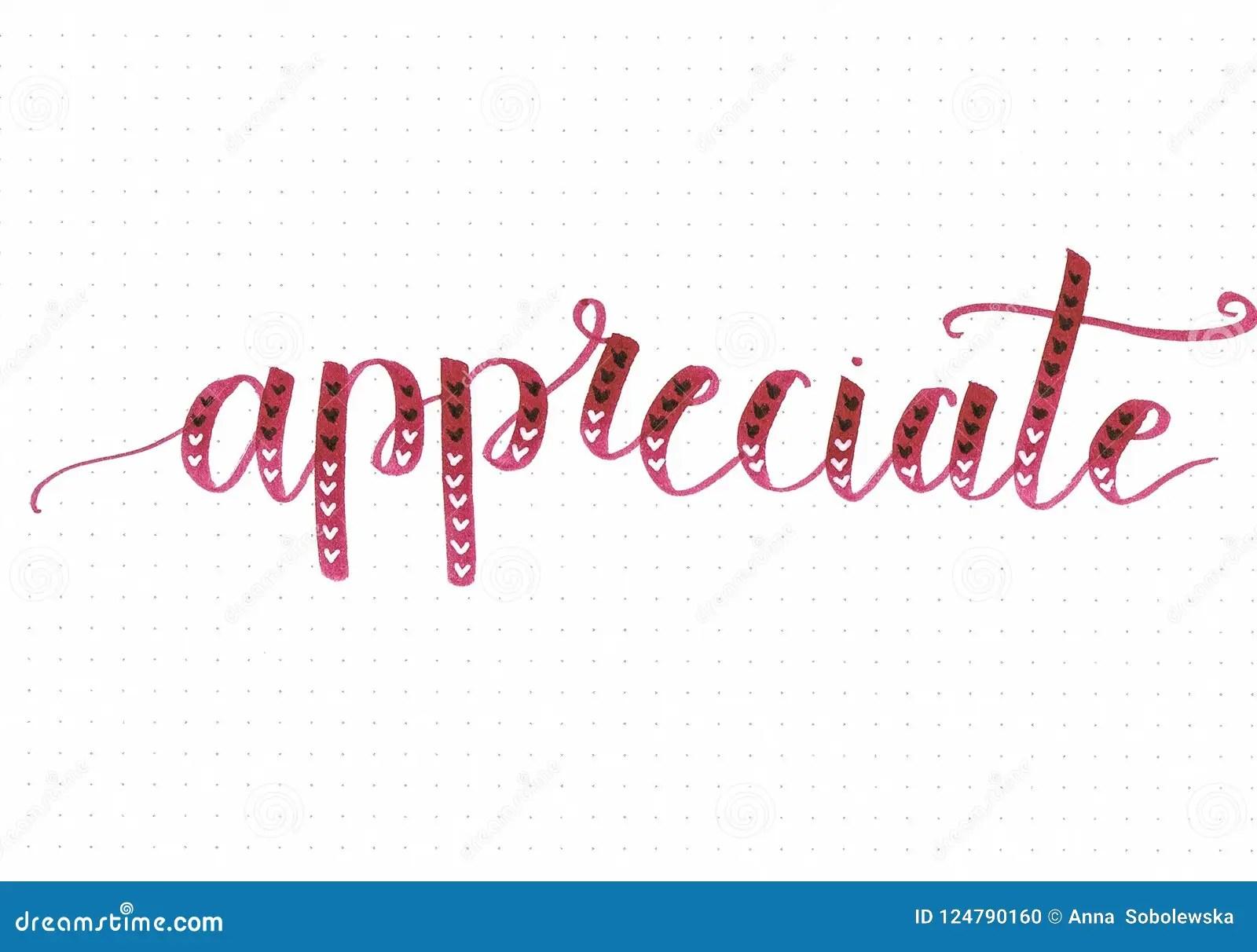 appreciate motivational hand lettering