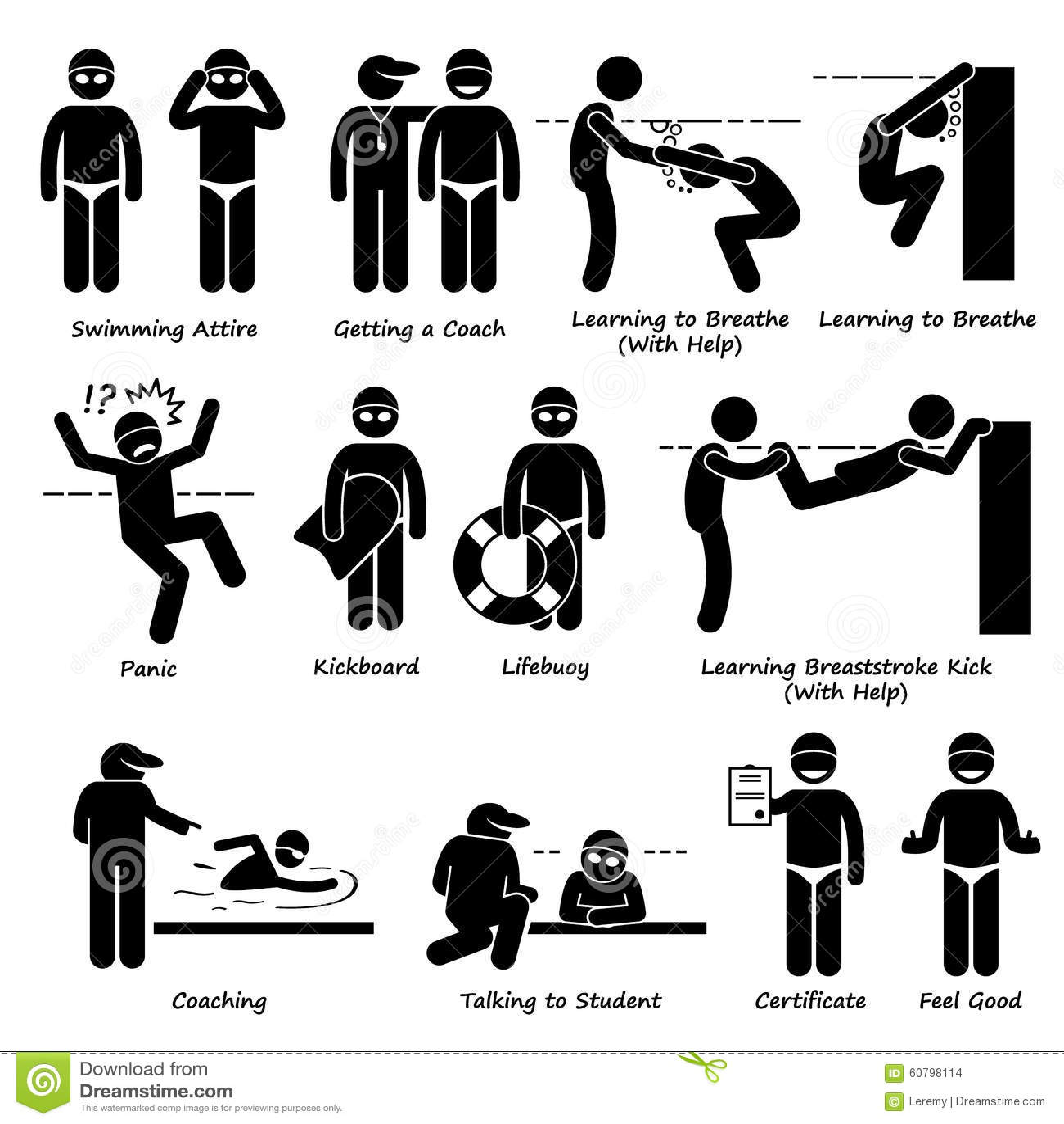 Apren Ndo Como Nadar El Pictograma Clipart Ilustracion