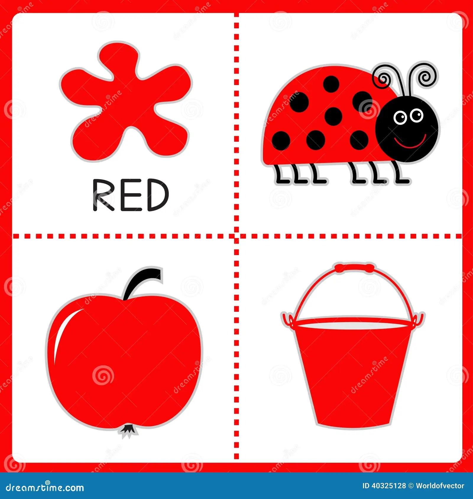 Aprendizaje De Color Rojo Mariquita Manzana Y Cubo