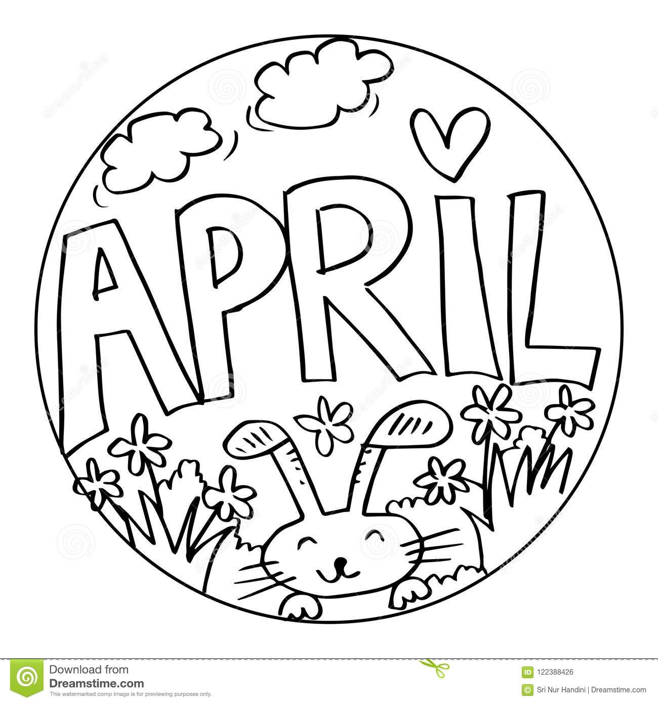 April Coloring Pages For Kids Stock Illustration
