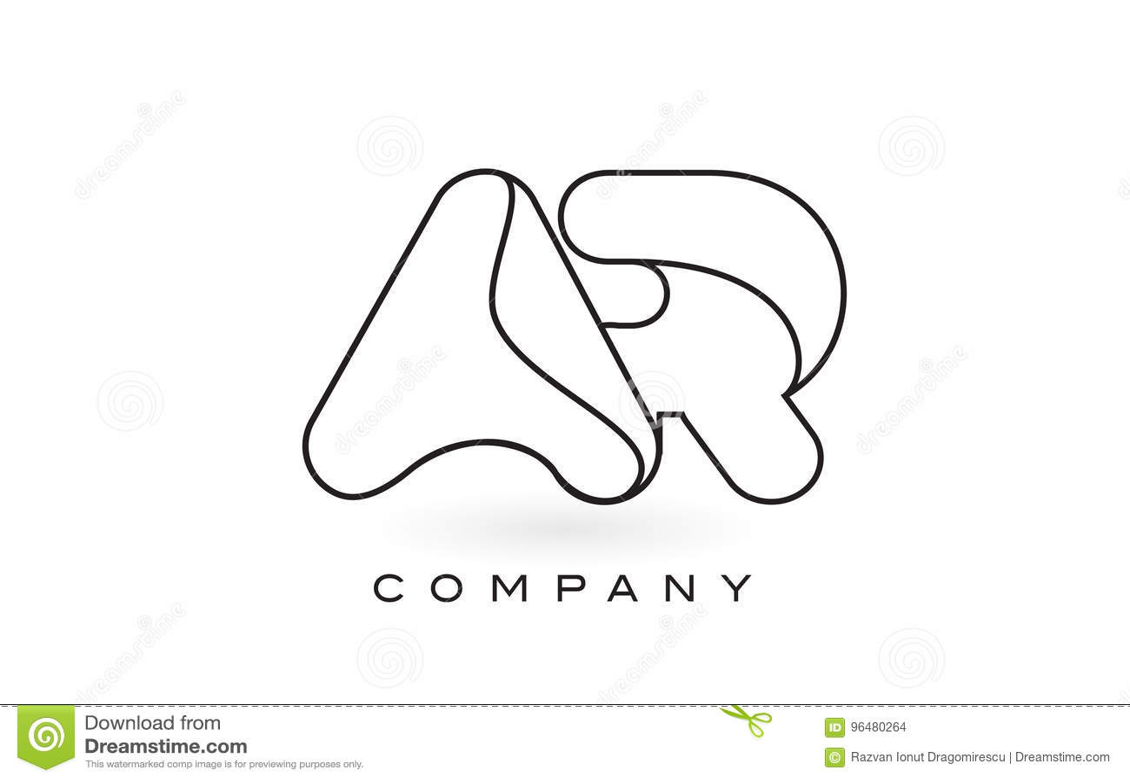 AR Monogram Letter Logo With Thin Black Monogram Outline
