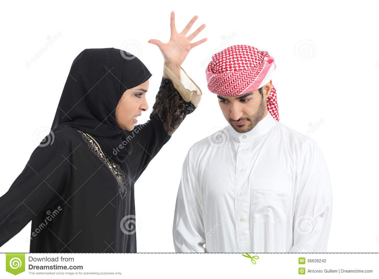 Arab Couple With A Woman Arguing To Her Husband Stock