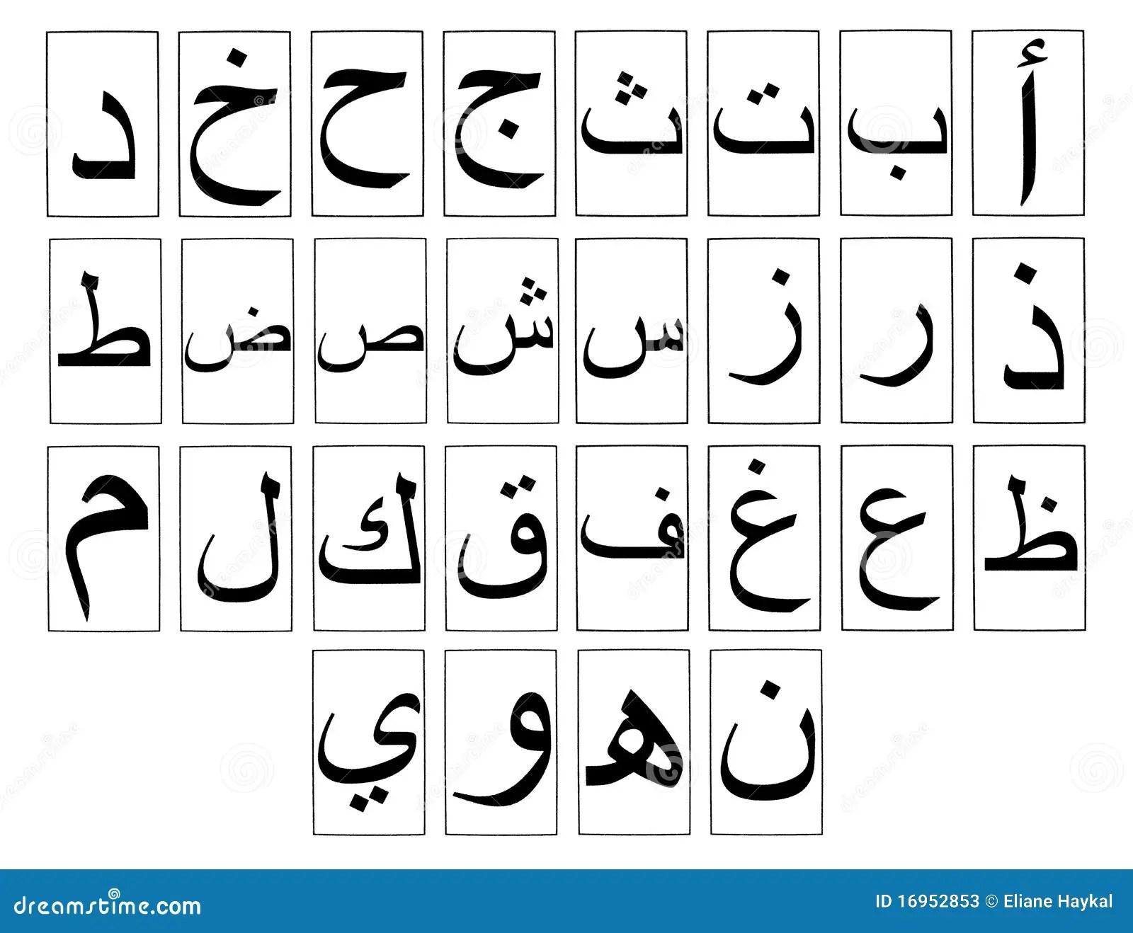 Arabic Alphabet Horizontal Stock Illustration