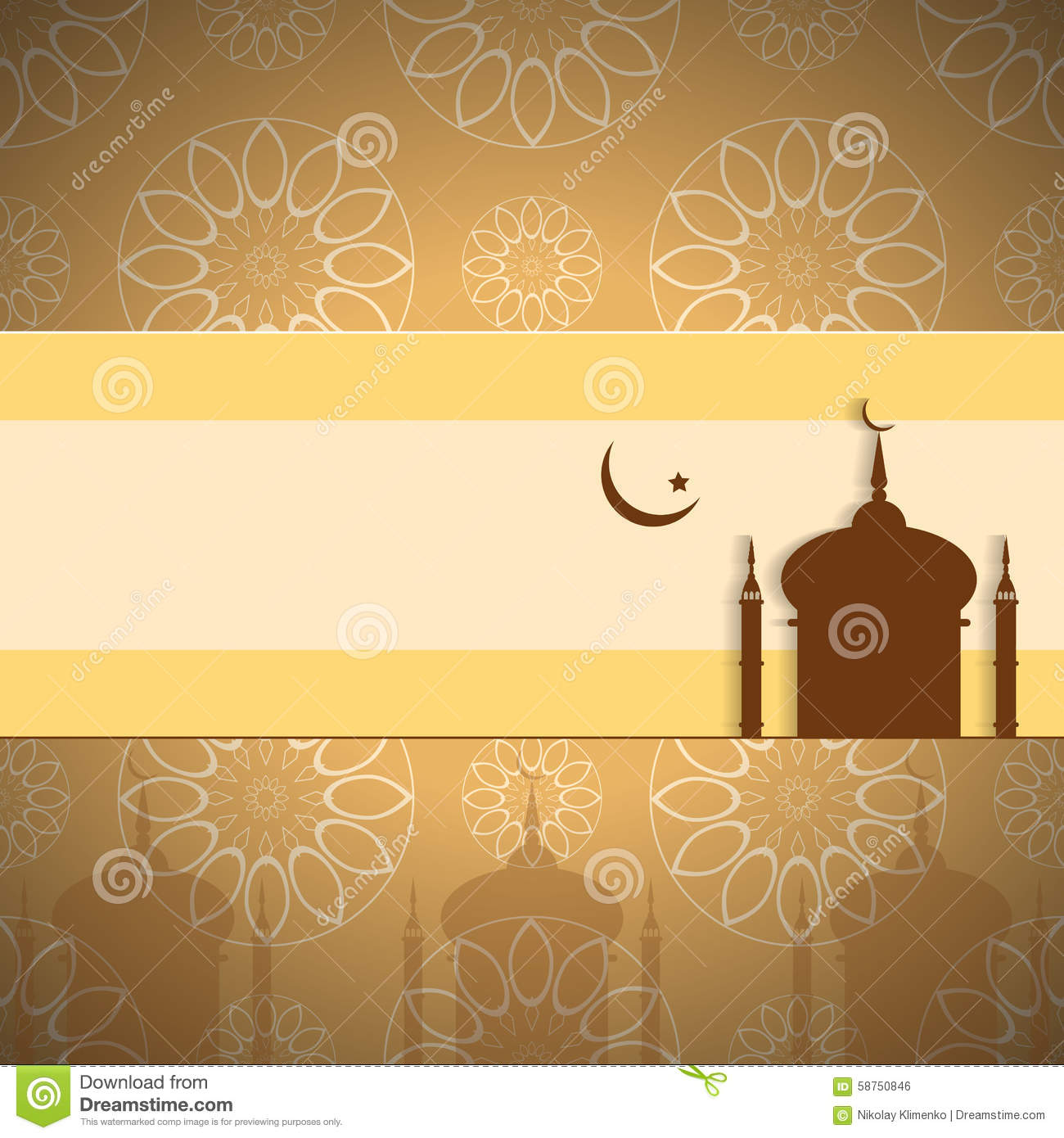Arabic Islamic Floral Design Decorated Yellow Background