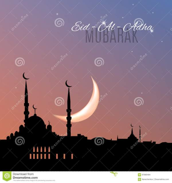 Arabic Islamic Holiday EidAlAdha Mubarak Greeting Card