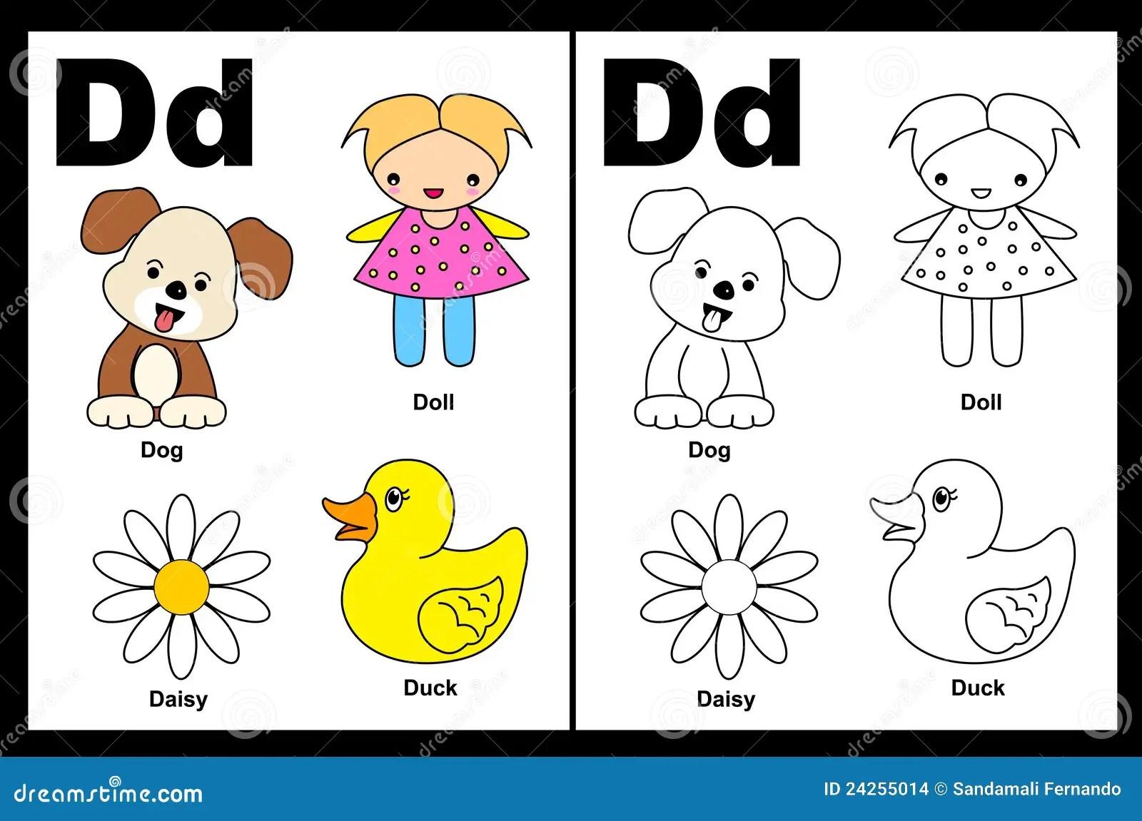 Arbeitsblatt Des Zeichens D Vektor Abbildung