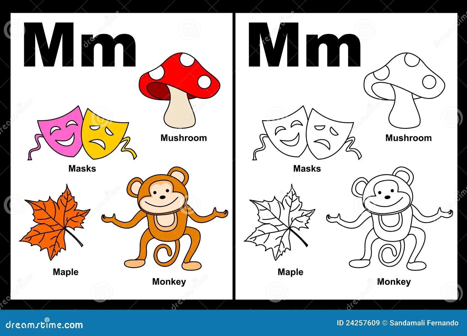 Arbeitsblatt Des Zeichens M Vektor Abbildung