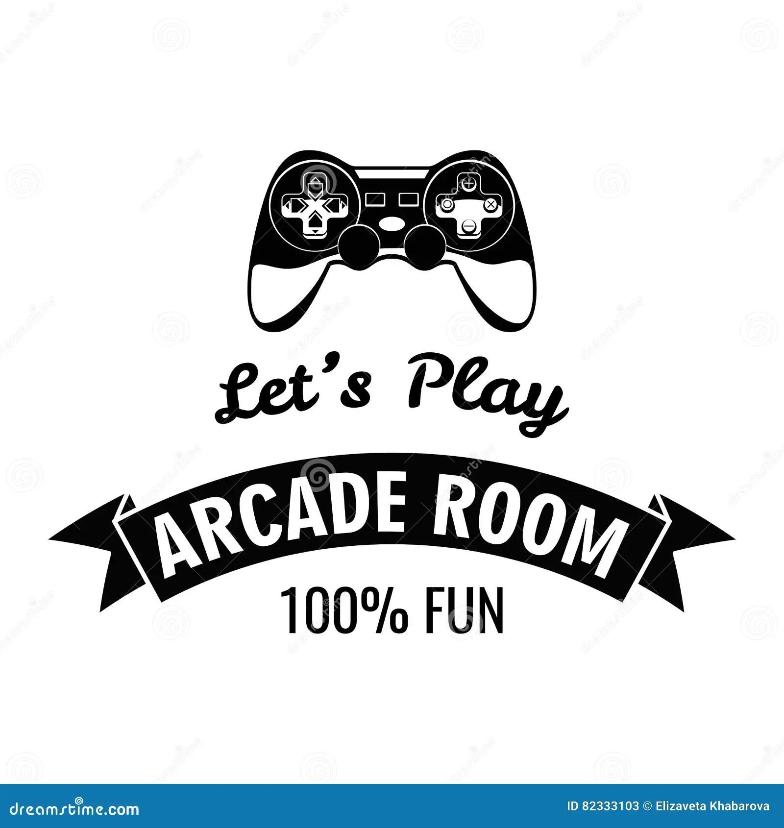 Arcade Room Label. Gamepad Lets Play. Vector Illustration