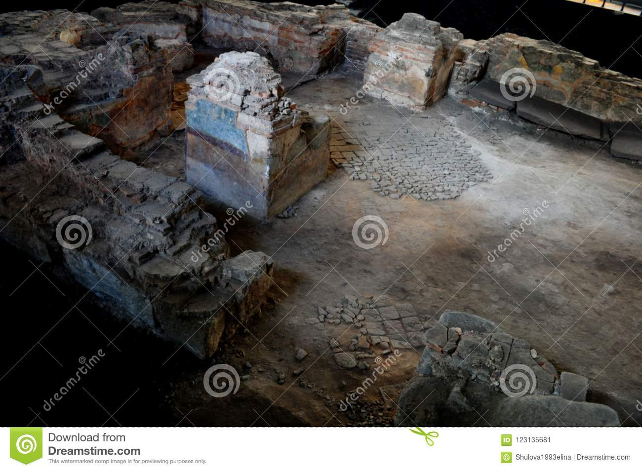 archaeological excavated concrete stock