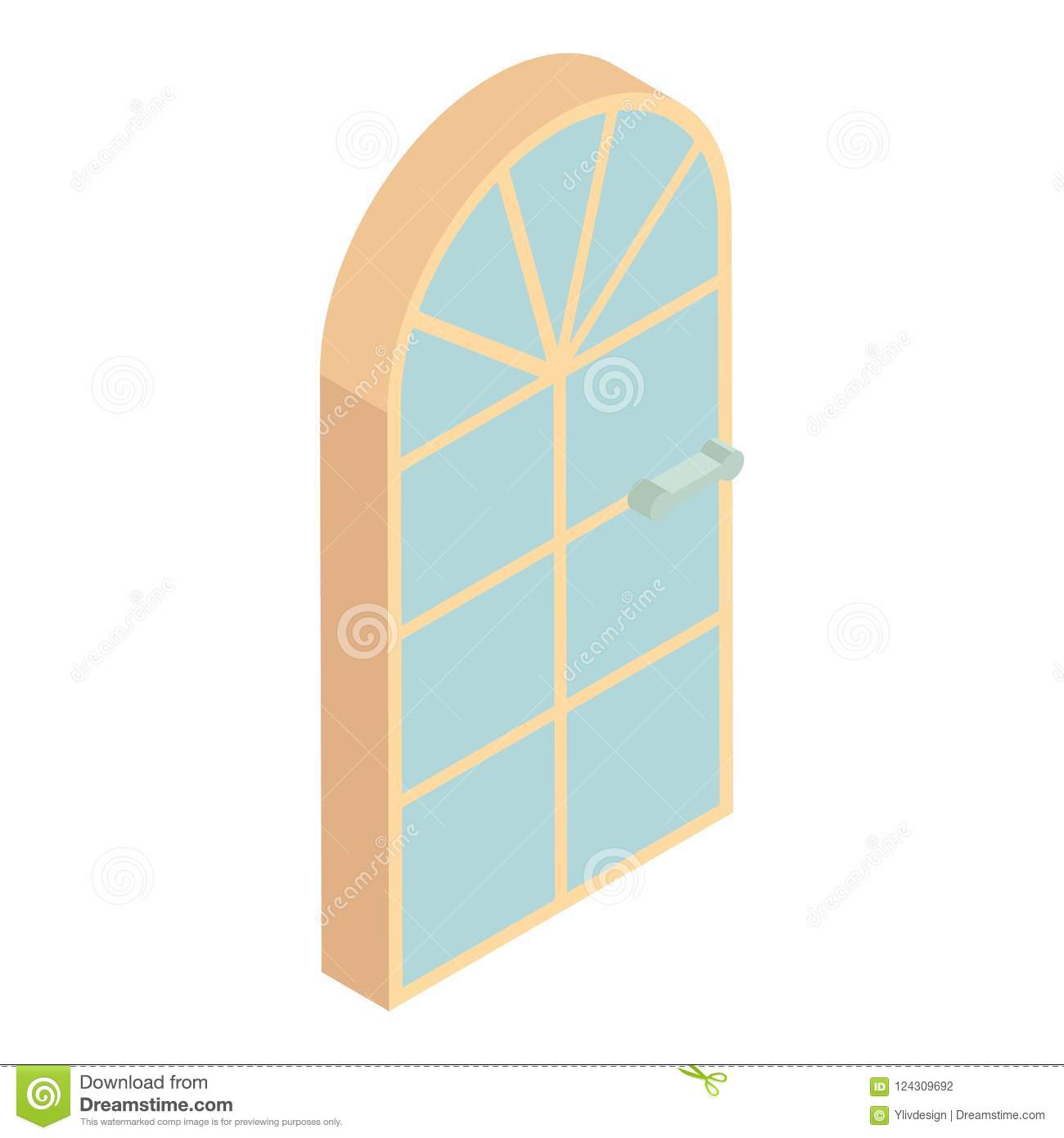 hight resolution of arched front door icon cartoon style