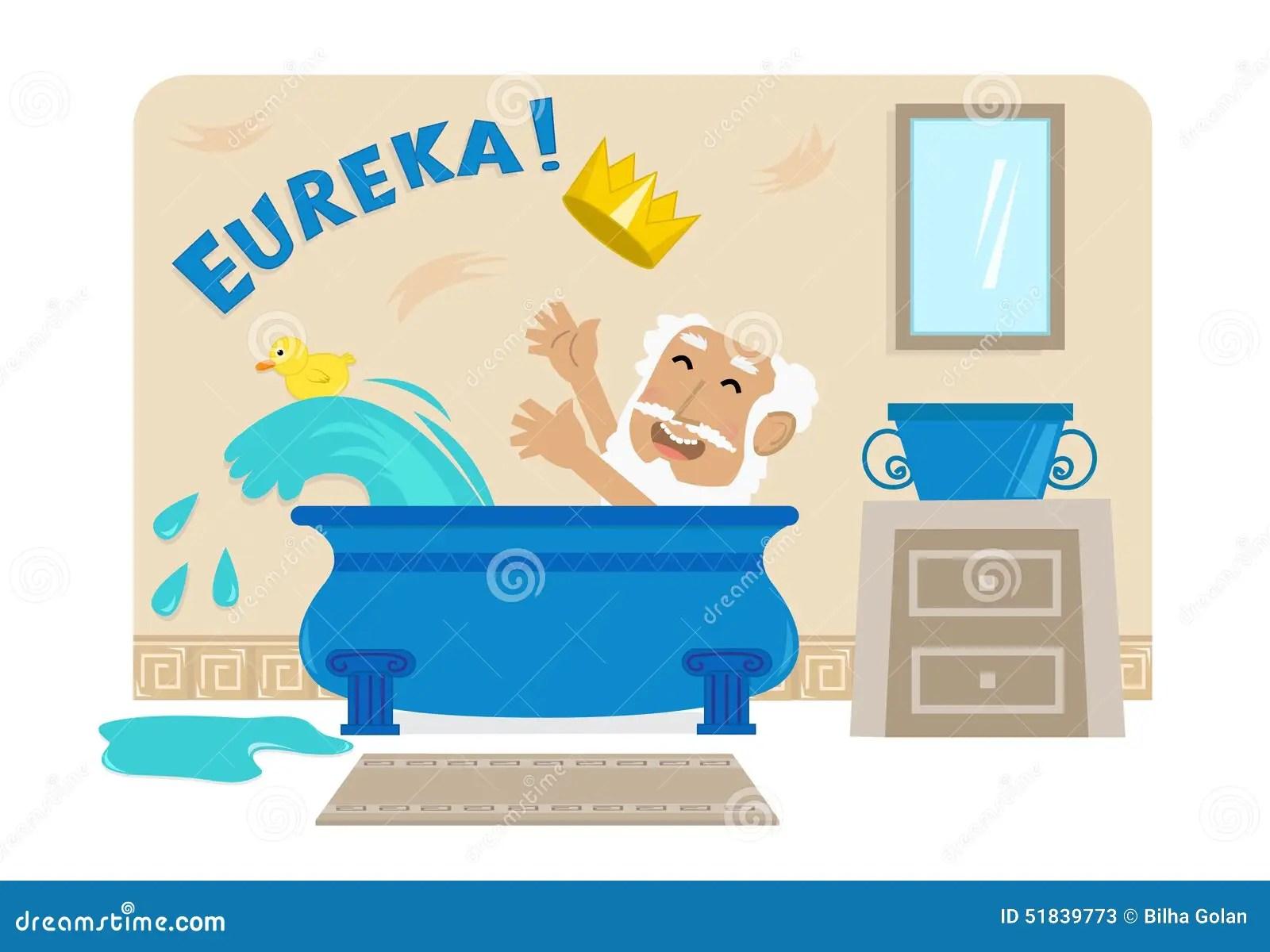 Archimedes In Bathtub Vektor Abbildung Illustration Von