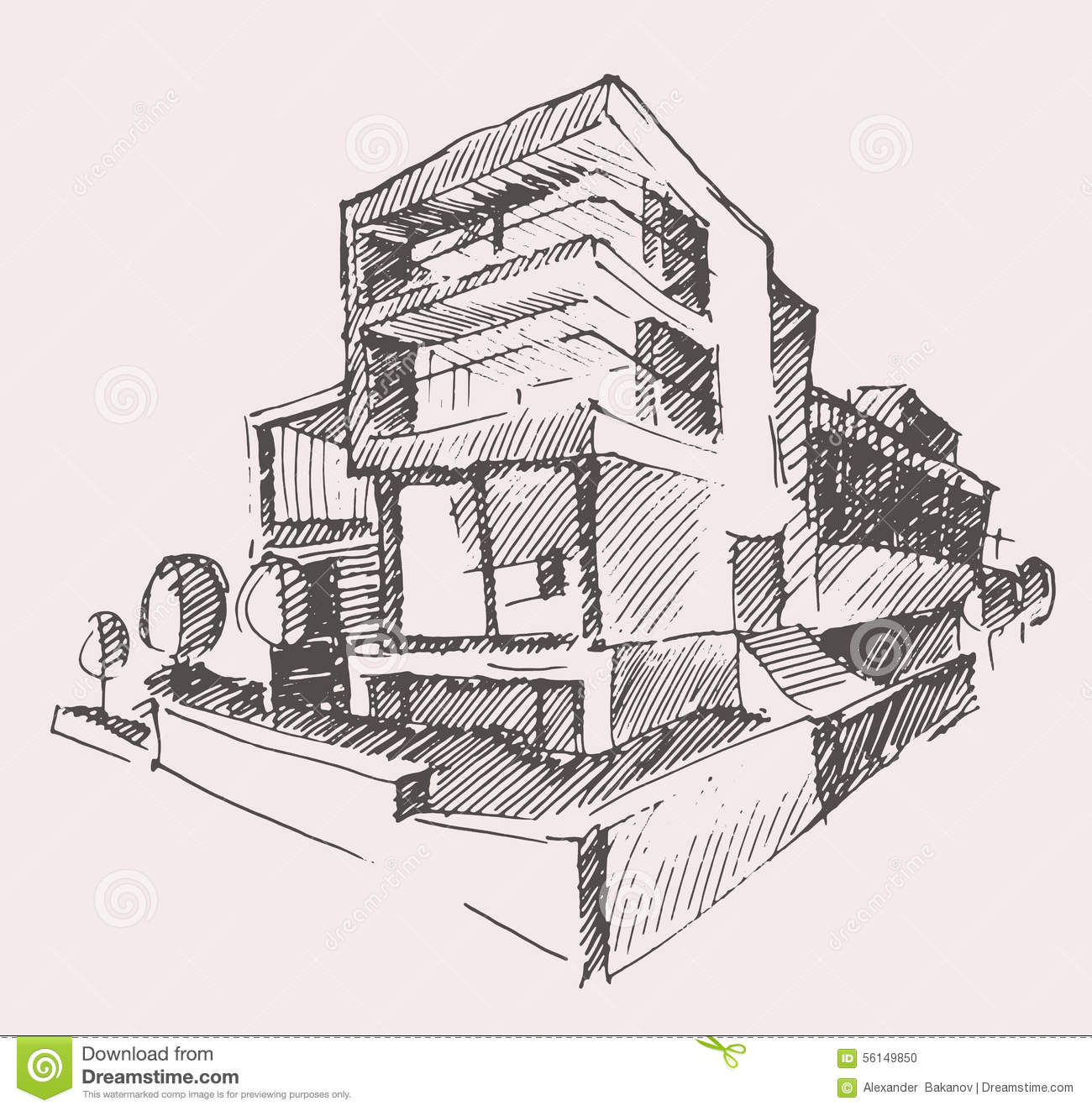 Architect Draft Modern New House Building Concept Stock