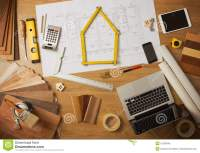 Architect And Interior Designer Work Table Stock Image ...