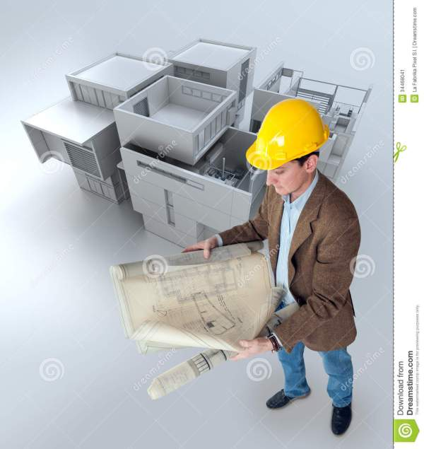 Architect Looking at Plans