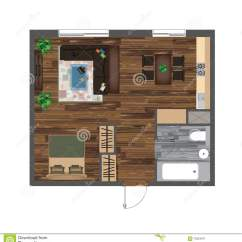 Living Room Furniture For Studio Apartments Table Decorations Ideas Architectural Color Floor Plan Apartment Vector Illustration Top View Set Kitchen Bathroom Sofa Armchair Bed Dining Chair Carpet