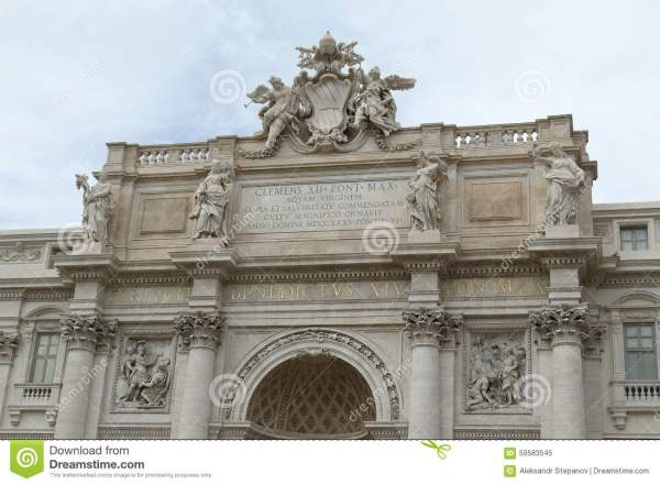 Architectural Details Of Facade Palazzo Poli In Rome