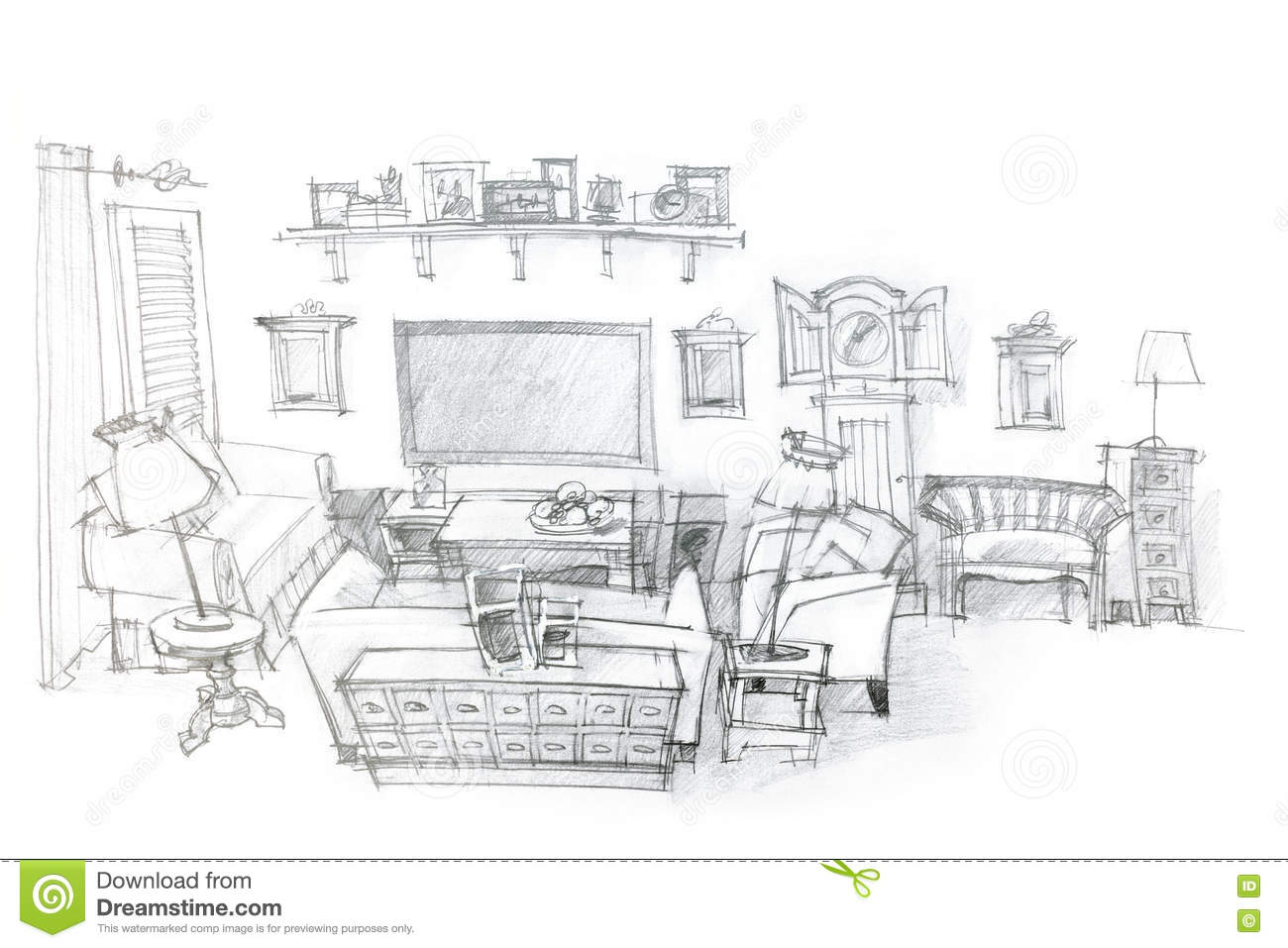 Architectural Hand Drawing Of Modern Living Room Interior