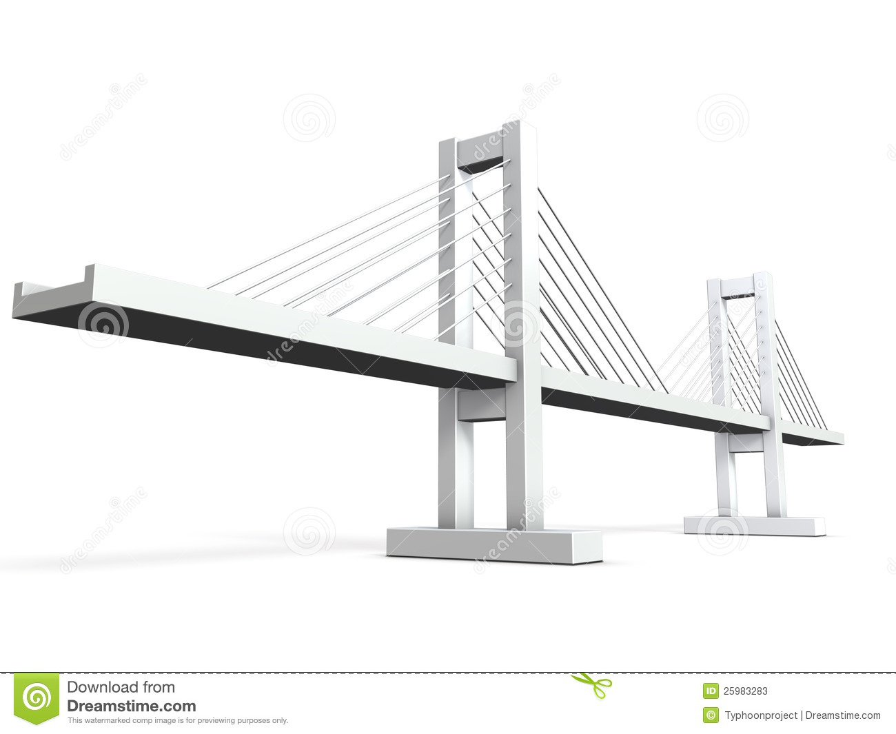 Architectural Models Of Cable-stayed Bridge Stock
