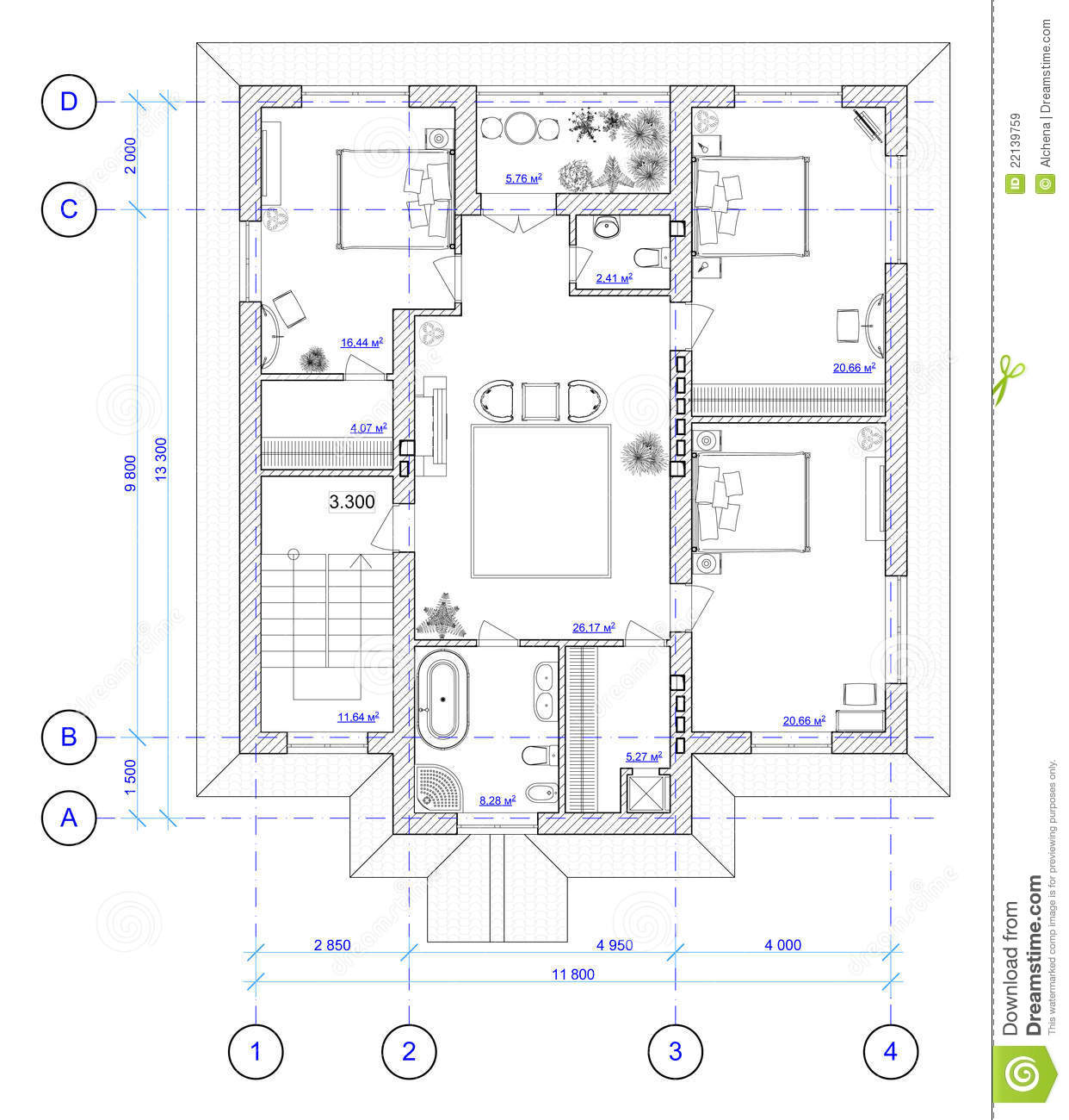 Architectural Plan Of 2 Floor Of House Stock Illustration