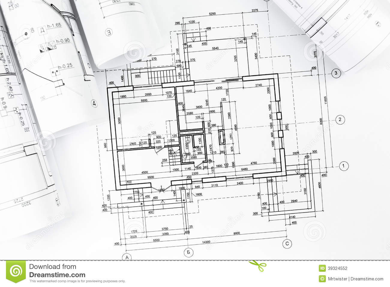 Architectural Plan Drawings Stock Photo