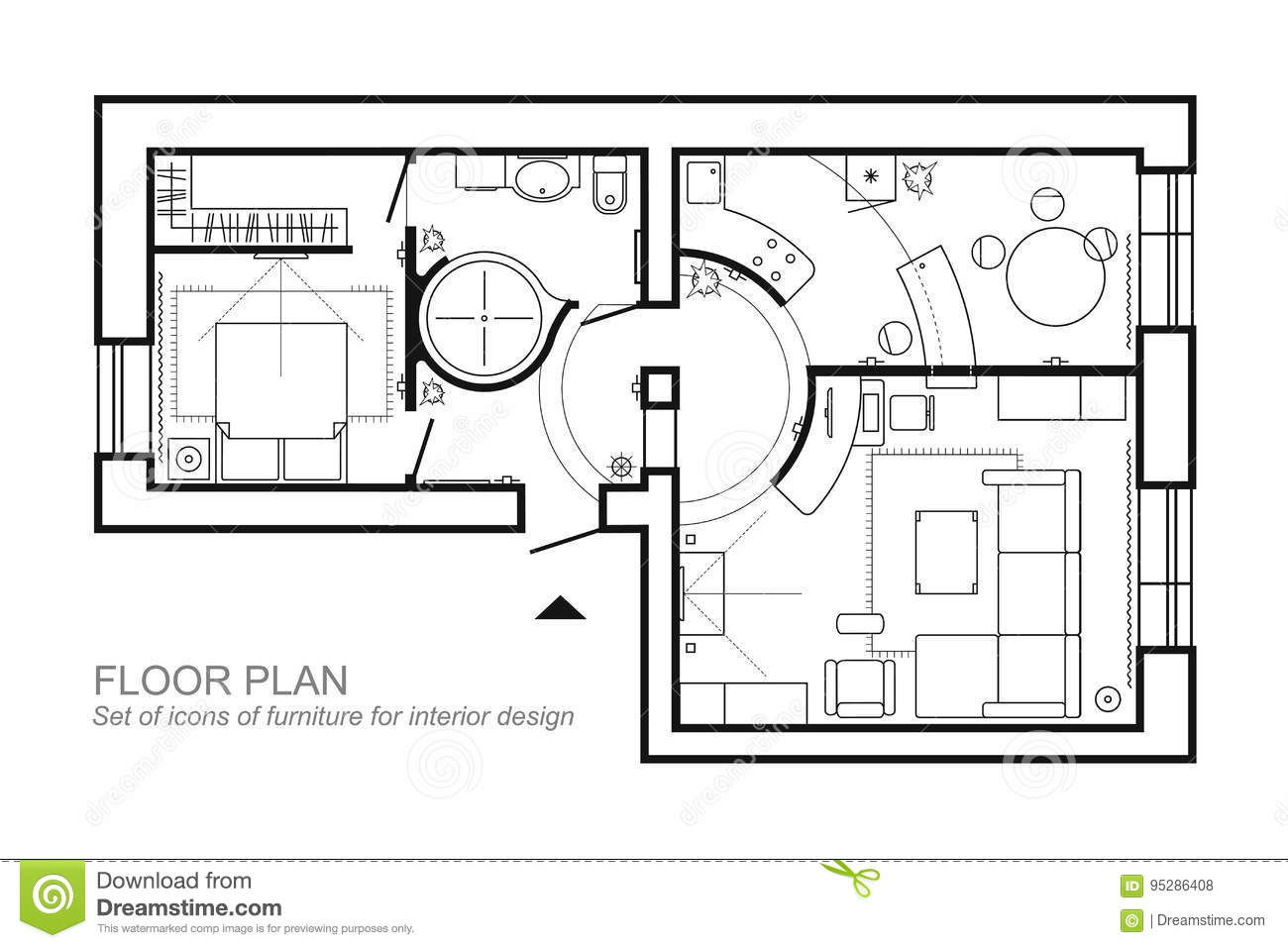 Architectural Plan Of A House Layout Of The Apartment Top