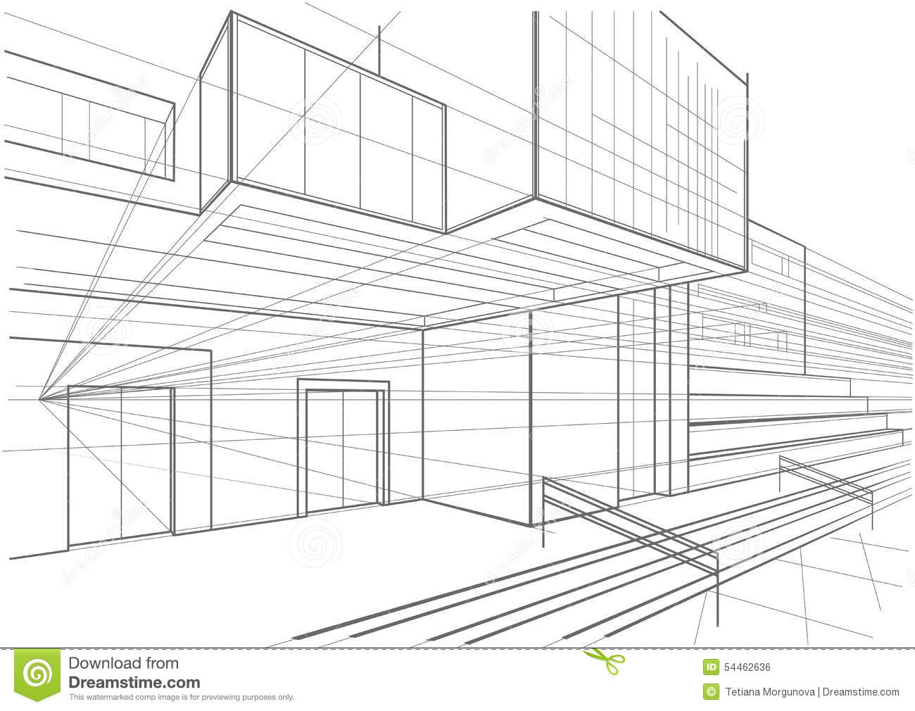 Architectural Sketch Of A Cubic Building Stock Vector