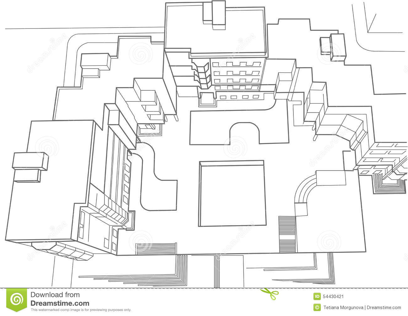 Architectural Sketch Of Multi Story Building Top View Stock Vector