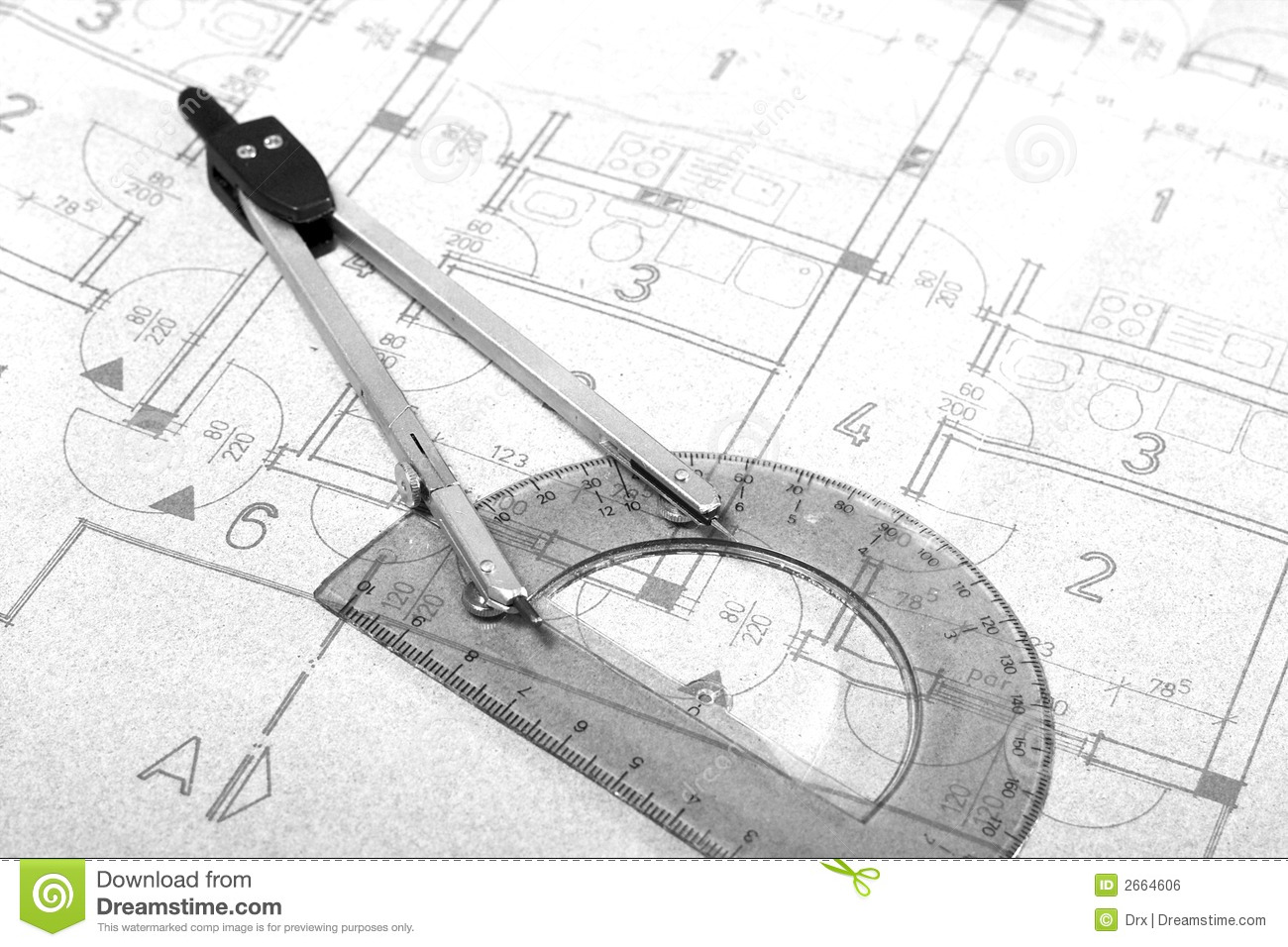 architecture blueprint drawing stock