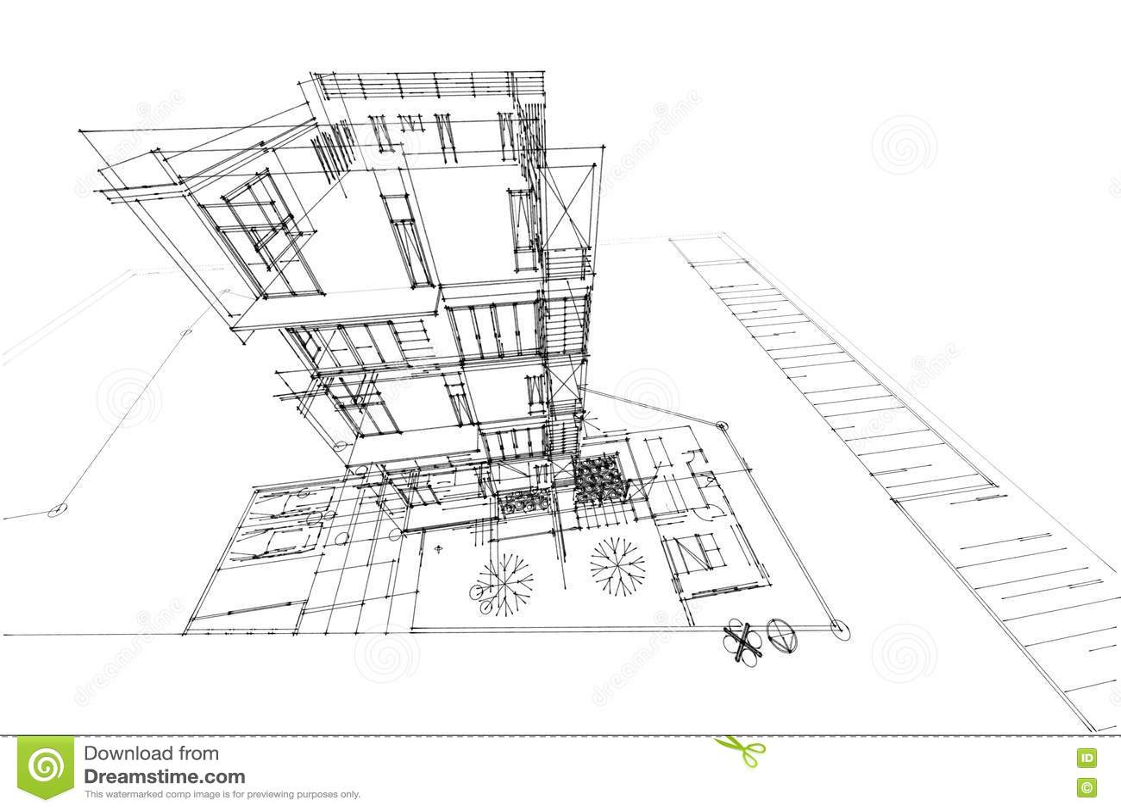 Architecture Drawing Condominium 3d Illustration Stock