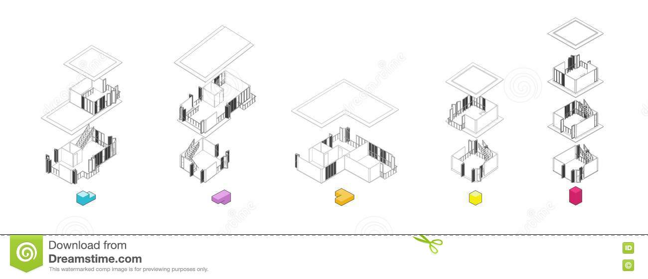 Architecture Exploded Units Diagram Stock Illustration