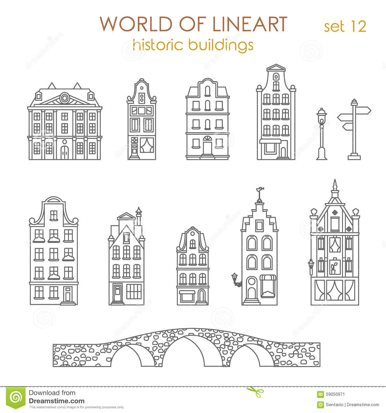 Architecture Historic Old Buildings Graphical Lineart