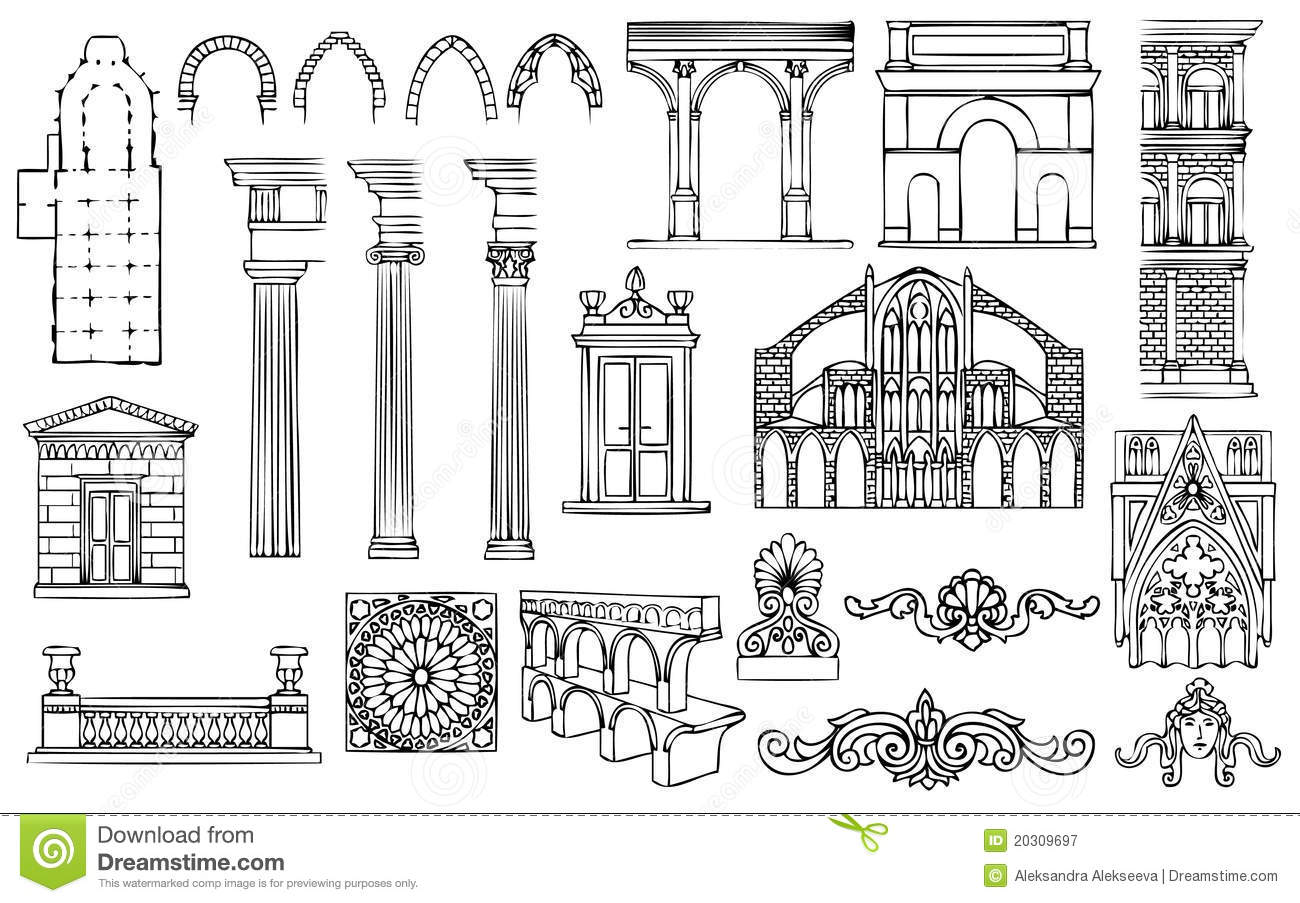 Architecture And Ornaments Vector Set Royalty Free Stock