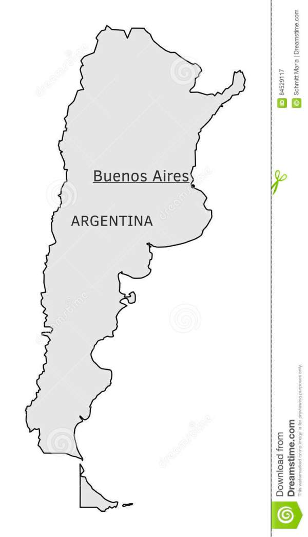 Argentina Silhouette Map With Buenos Aires Capital Stock