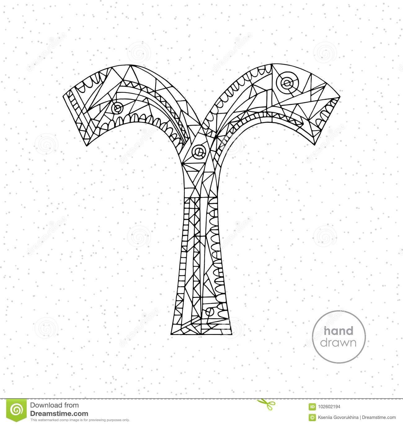 Aries Zodiac Sign. Vector Hand Drawn Horoscope