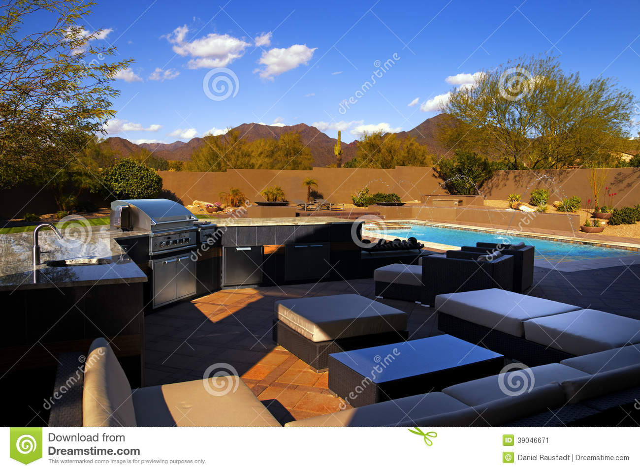 Southwest Home Backyard Pool And Patio Stock Photo  Image