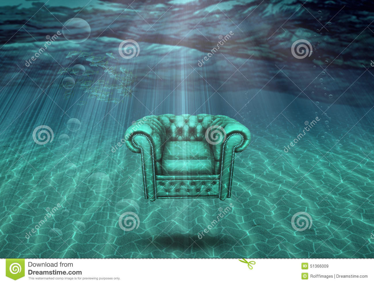 floating fishing chair aeron desk arm floats in sea bottom stock illustration image